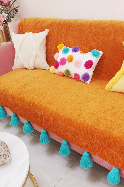 Burnt Orange Sofa Cover with Blue Tassels