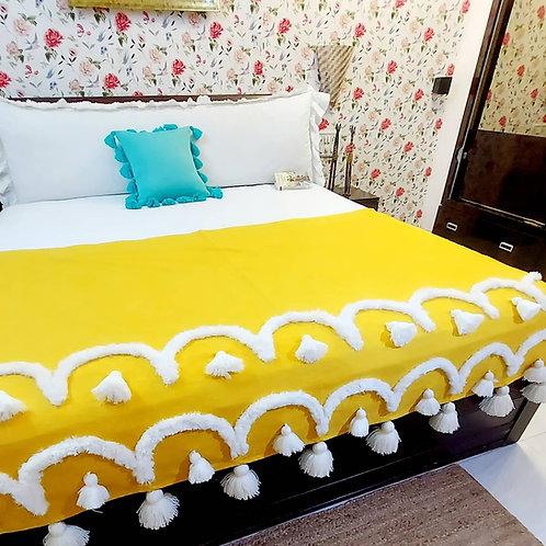 Saffron Tassel Bed Throw