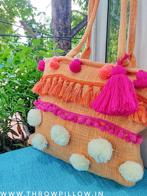 Blush Pom Pom Boho Tote Bag