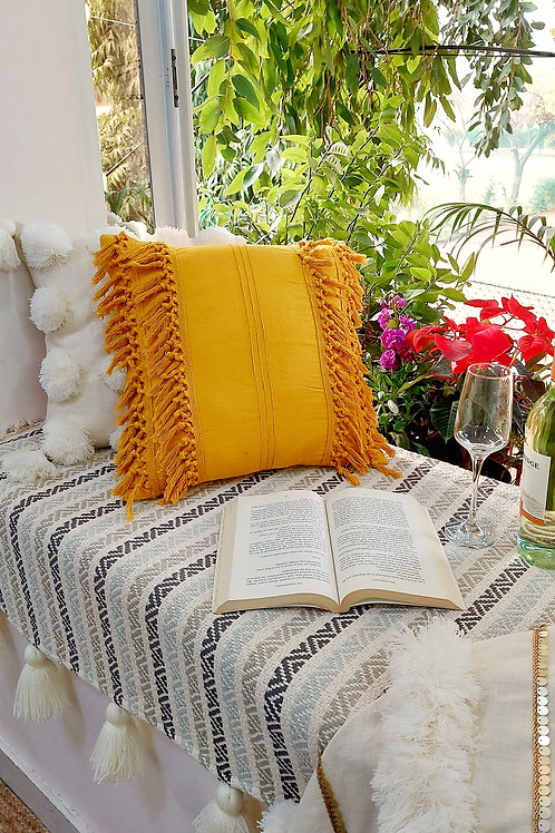 Mustard Fringe Cushion Cover