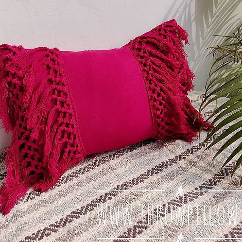 Fuchsia Fringe Rectangular Cushion Cover