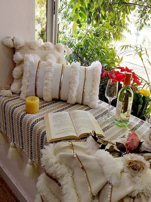 Pearl White Moroccan Cushion Cover