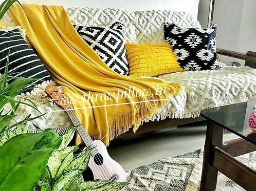 Golden Yellow Fringe Layers Rectangular Cushion Cover
