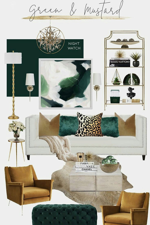 Green & Mustard Combo- 5 Cushions