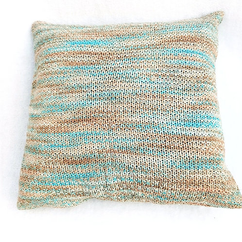 Knit Textured Cushion Cover- Brown & Turquoise