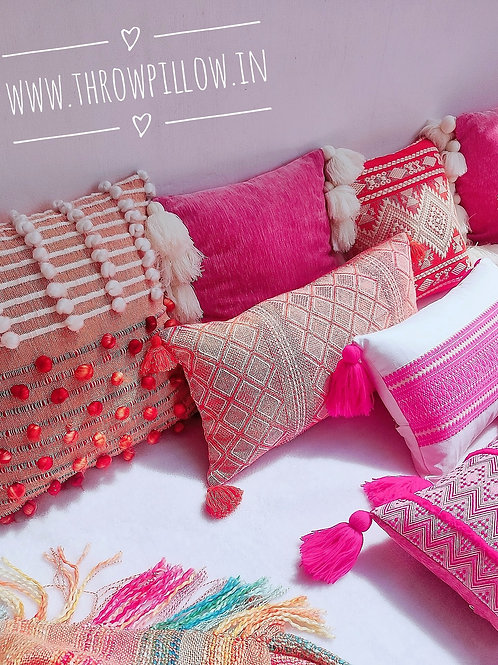 Pink Fine off white Tassels Cushion