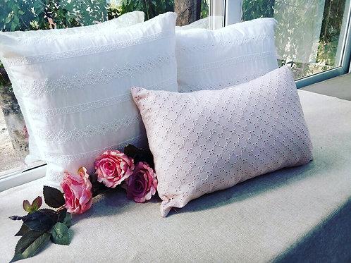 Pink cutwork Rectangular Cushion