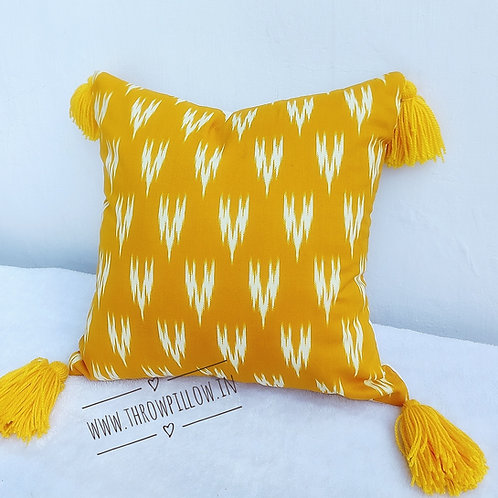 Yellow Ikat Pillow with tassles