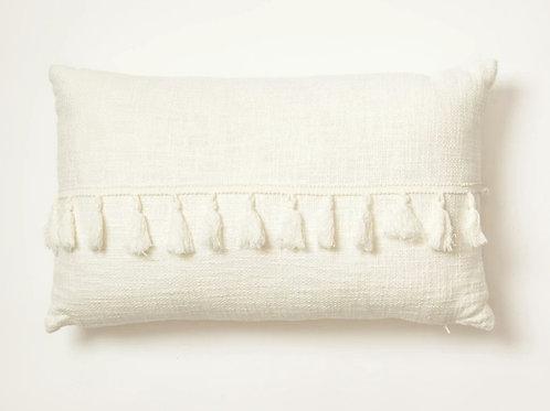 Neutral Tassle Rectangular Cushion
