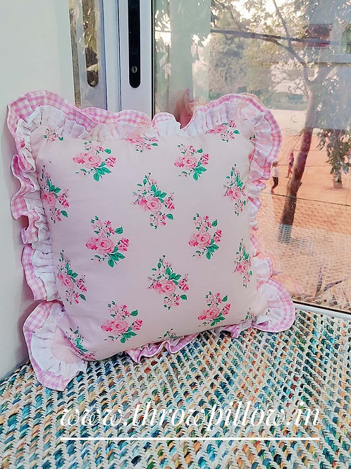 Floral Shabby Chic Cushion Cover Pink