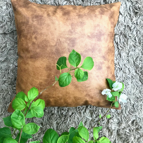 Leather Hazelnut Brown Cushion Cover