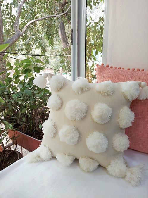 Neutral Big Pom Pom Cushion