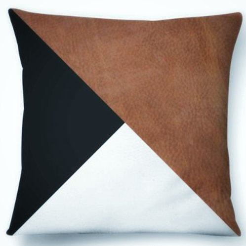 Colour Block Faux Leather Cushion Cover
