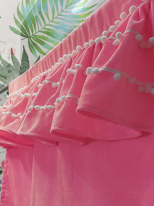 Neon Pink Pom-Pom Embellished Frill Curtain
