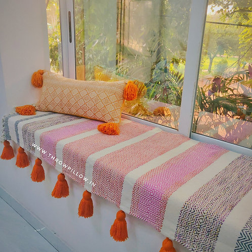 Multicolored L-Shaped Couch Cover with Tangerine Orange tassels