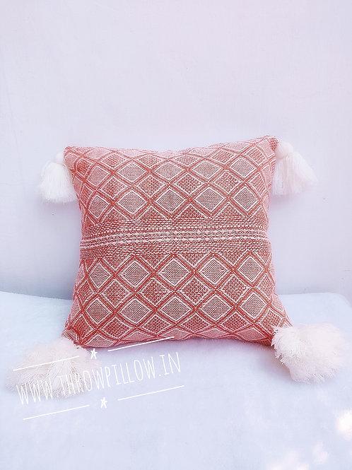 Orange Geometric Tassles Cushion