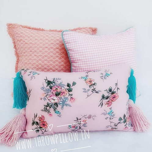 Tassels Pink Floral Rectangular Cushion Cover- 12x18 inches