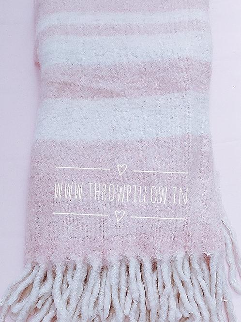 Oversized Dusky Pink Mohair Throw Blanket