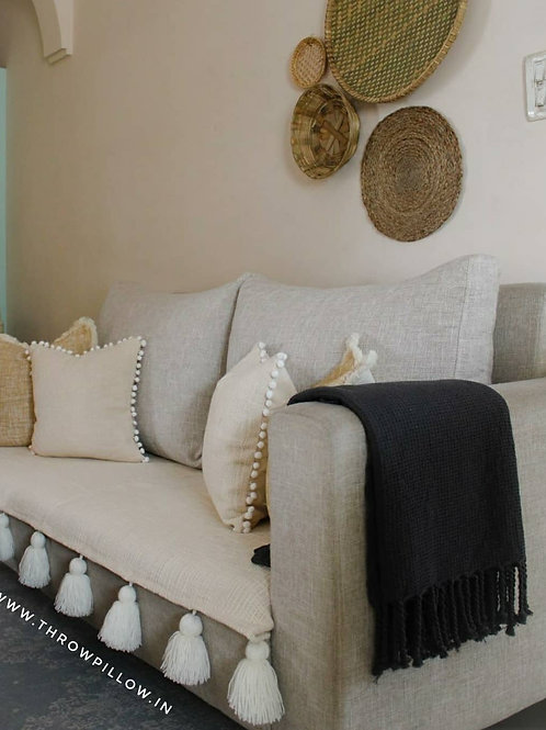 Neutral Throw/Couch Cover with Tassels