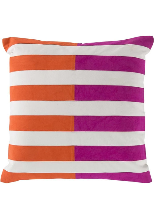 Orange Fuschia Stripes Cushion