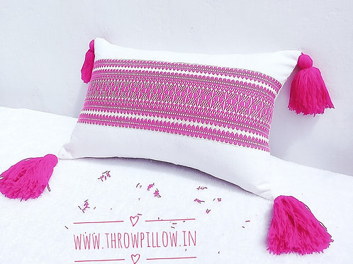 Pink Embroidered Long Tassle Pillow