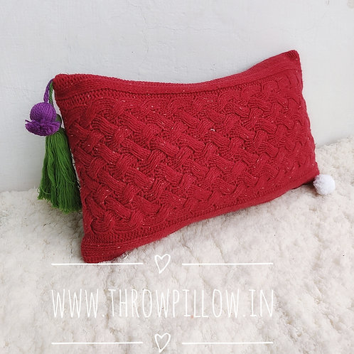 Red knitted Rectangular Cushion Cover