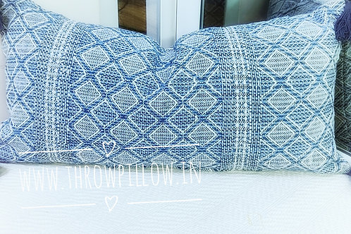 Navy Blue Geometric Pattern Rectangular Cushion Cover