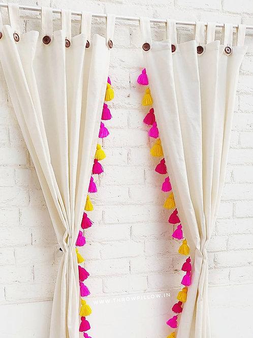 Solid Neutral Cotton Tassel Curtains
