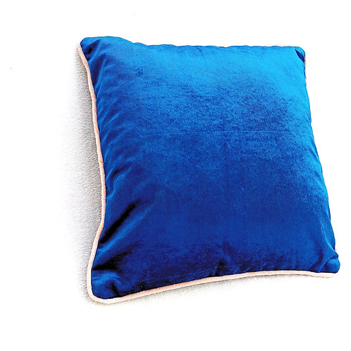 Teal Blue Velvet Cushion  Cover with Pink Trim