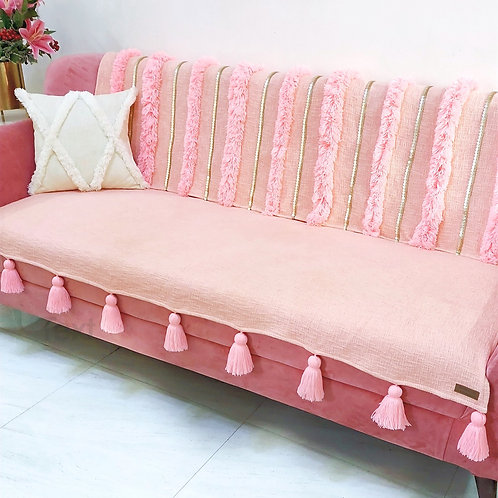 Blush Moroccan Tassel Throw/Couch Cover Set