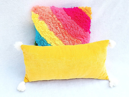 Solid Tuscany Yellow  Tassel Cushion Cover