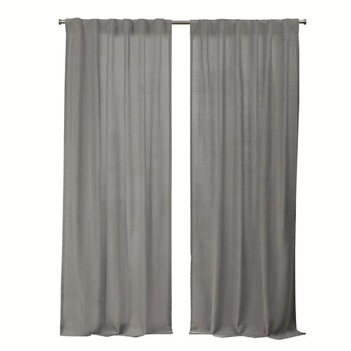 Grey Cotton Thick Textured Curtains - Set of 2