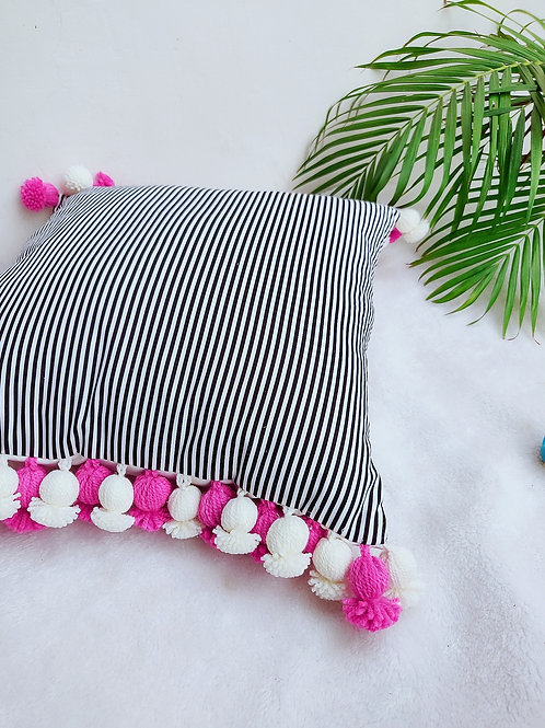 Black and White with Bud Tassels Cushion Cover