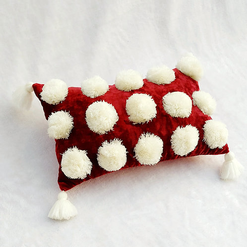 Luxe Deep Red Pom Pom Cushion Cover