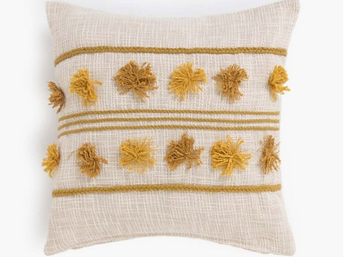 Neutral Cushion with Mustard Pom Poms