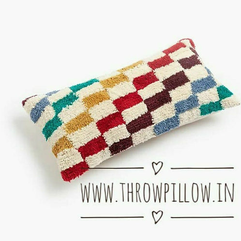 Multicoloured Tuft Cushion Cover-Square shape