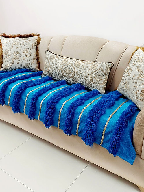 Moroccan Wedding Striped Throw- Teal Blue