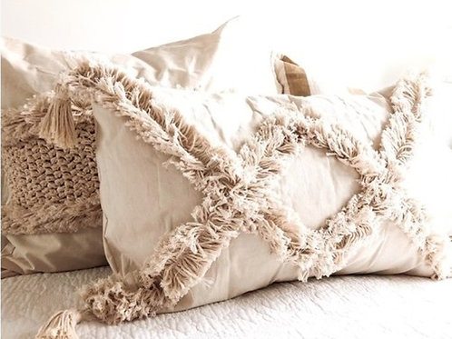 Neutral Tufted Crisscross Boho Cushion