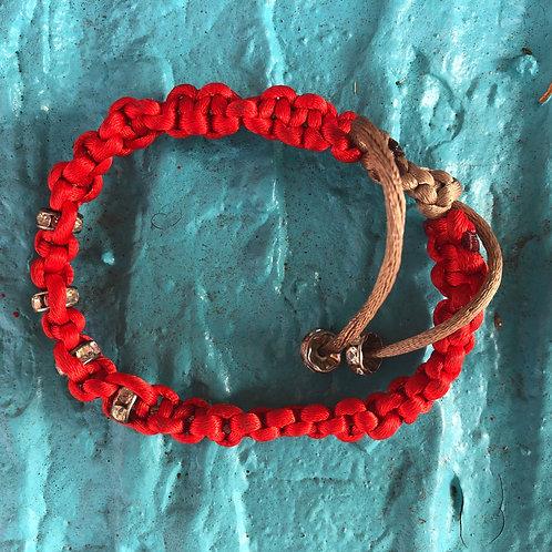 Red Tan Shiny Bracelet