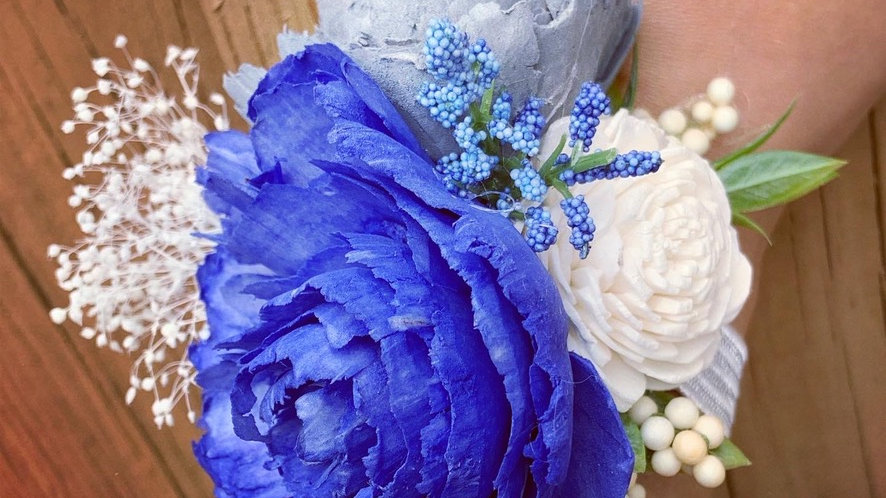 Wood Flower Corsage