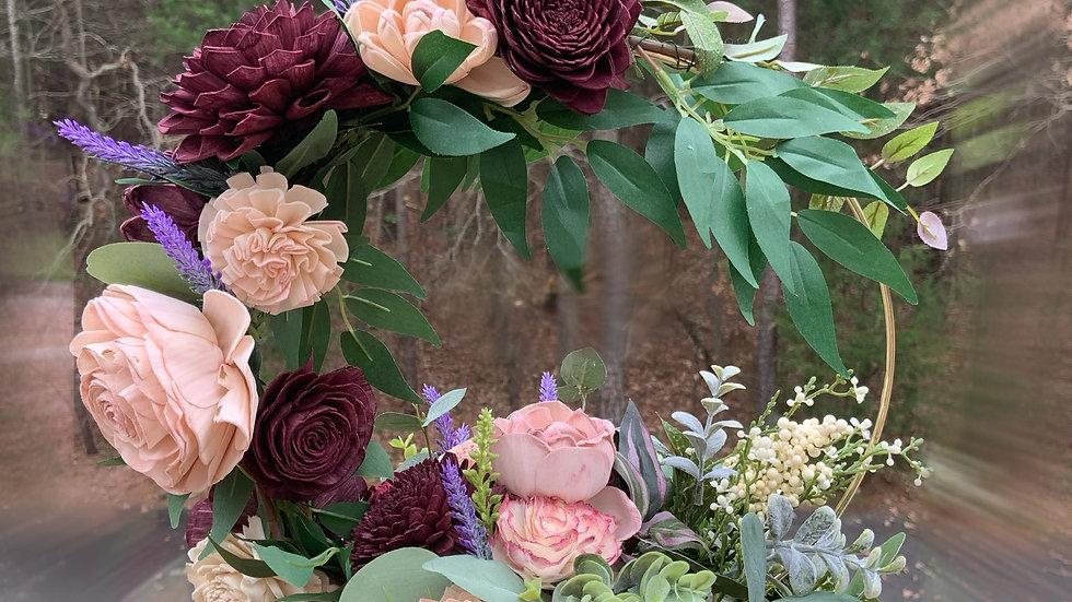 Wood Flower Hoop Centerpiece