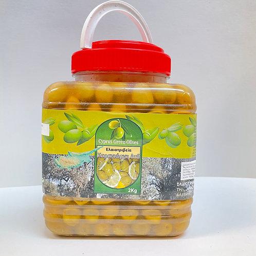 Karagiorgis Cyprus Green Cracked Olives - 2kg