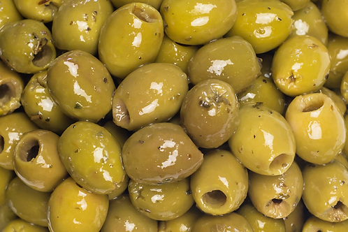 Green Cracked Marinated Olives - per kg