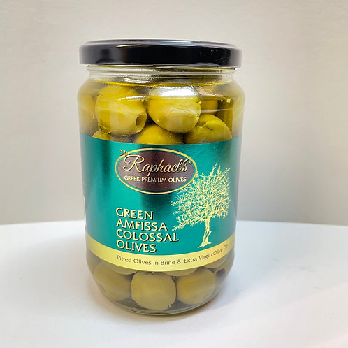 Raphael's Green Pitted Amfissa Colossal Olives - 720gr
