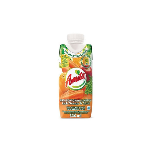 Amita Mix Apple, Orang, Carrot - 330ml