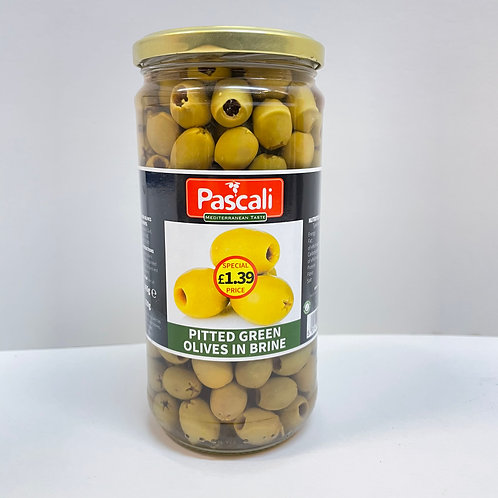 Pascali Pitted Green olives in brine - 665gr