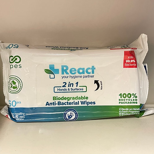 React Anti-Bacterial Wipes 60s