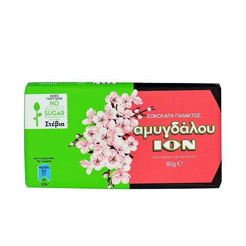 ION Stevia Milk choco with almond - 60gr