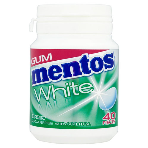 Mentos White Gum Bottle Spearmint - Pack-40