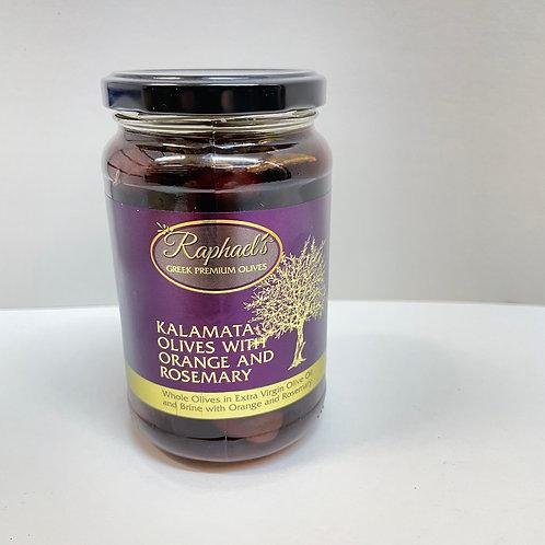 Raphael's Kalamata Olives Orange&Rosemary - 380gr